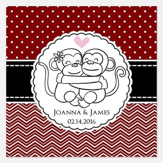 Personalized Monkey Couple 5.25 x 5.25 Flat Cards
