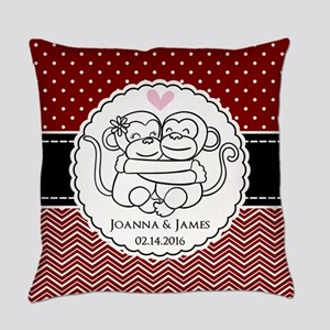 Personalized Monkey Couple Red Che Everyday Pillow