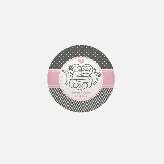 Gray Pink Chevron Dots Monke Mini Button (10 pack)