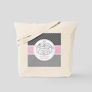 Gray Pink Chevron Dots Monkey Personalize Tote Bag