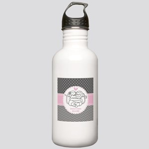 Gray Pink Chevron Dots Stainless Water Bottle 1.0L