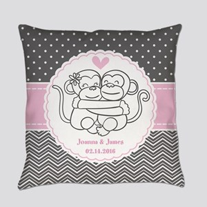 Gray Pink Chevron Dots Monkey Pers Everyday Pillow