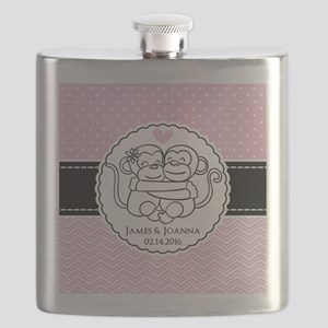 Pink Chevron Dots Monkey Personalized Flask
