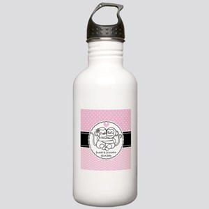 Pink Chevron Dots Monk Stainless Water Bottle 1.0L