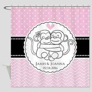 Pink Chevron Dots Monkey Personaliz Shower Curtain