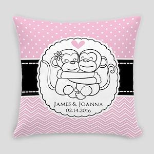 Pink Chevron Dots Monkey Personali Everyday Pillow