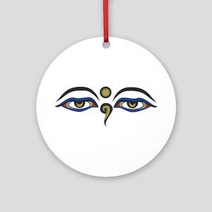 Eyes Of Buddha Round Ornament