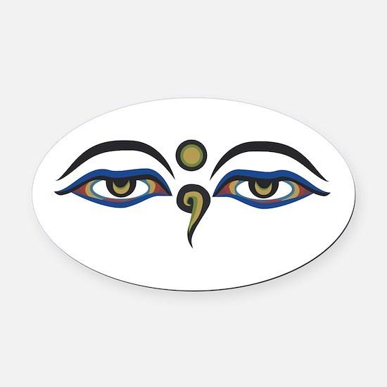 Eyes Of Buddha Oval Car Magnet