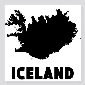 """Iceland Silhouette Square Car Magnet 3"""" x 3"""""""