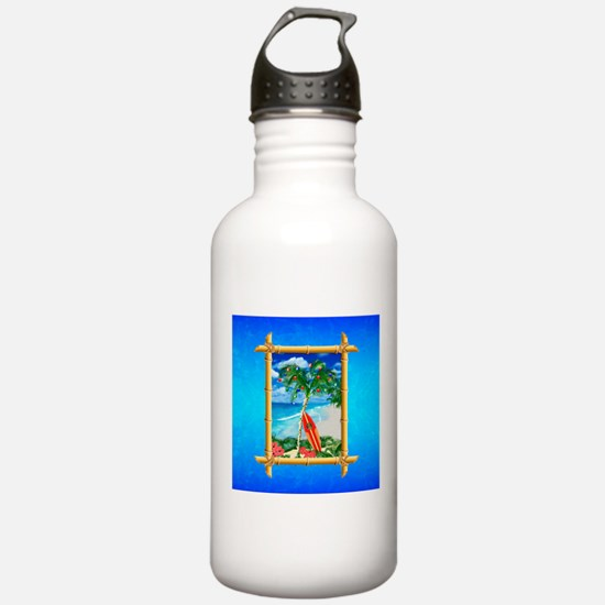 Beach Christmas Ocean Blue Water Bottle