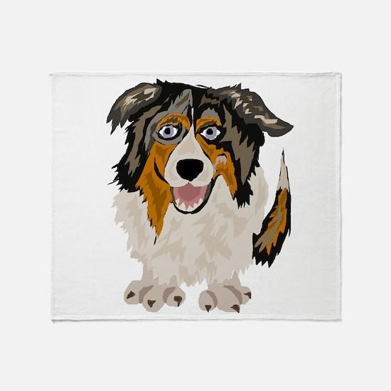 Funny Australian Shepherd Dog Throw Blanket