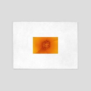 Orange flower 5'x7'Area Rug