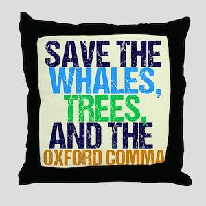 Oxford Comma Humor Throw Pillow