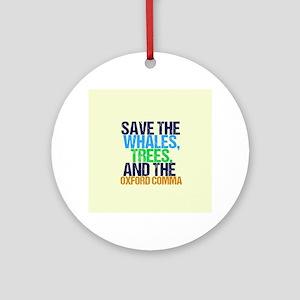 Oxford Comma Humor Round Ornament