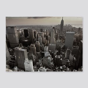 New York Skyscraper Vintage 5'x7'Area Rug
