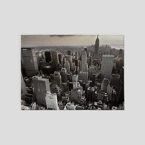 New York Skyscraper Vintage 5'x7'Area Rug