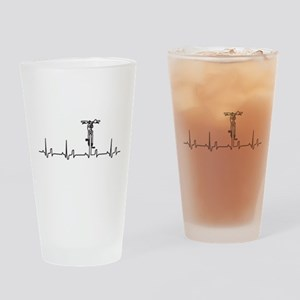 Bike Heartbeat Drinking Glass