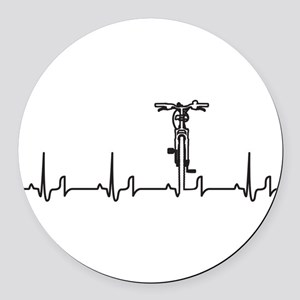 Bike Heartbeat Round Car Magnet