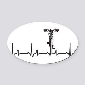 Bike Heartbeat Oval Car Magnet