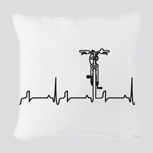 Bike Heartbeat Woven Throw Pillow