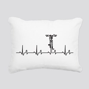 Bike Heartbeat Rectangular Canvas Pillow