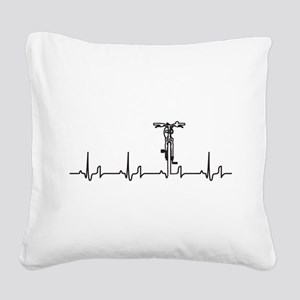 Bike Heartbeat Square Canvas Pillow