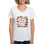 Dogsledding Season Women's V-Neck T-Shirt