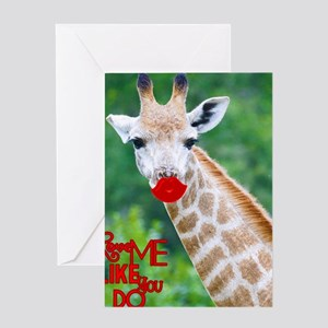 Kissing Giraffe Greeting Cards