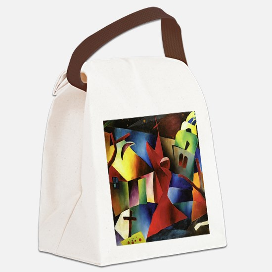 Cute Red abstract art Canvas Lunch Bag