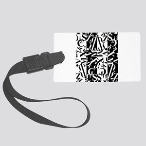 black and white Large Luggage Tag