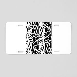 black and white Aluminum License Plate