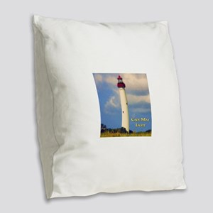 Cape May Light Watercolor Burlap Throw Pillow