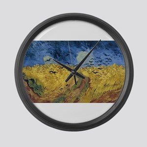 Vincent van Gogh - Wheatfield wit Large Wall Clock