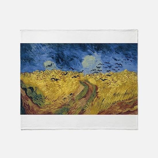 Vincent van Gogh - Wheatfield with C Throw Blanket