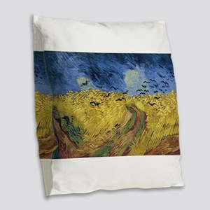 Vincent van Gogh - Wheatfield Burlap Throw Pillow
