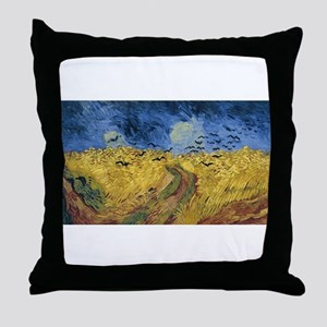 Vincent van Gogh - Wheatfield with Cr Throw Pillow