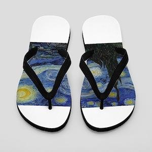 Vincent van Gogh's Starry Night Flip Flops