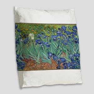 Vincent van Gogh's Irises Burlap Throw Pillow