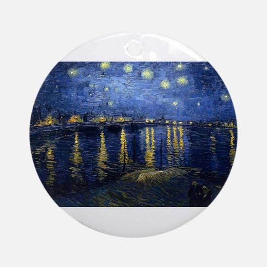 Vincent van Gogh's Starry Night Ove Round Ornament