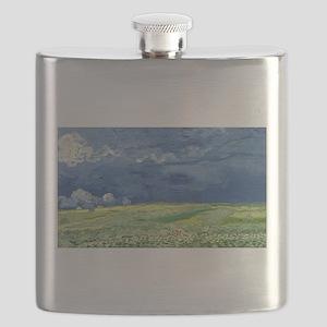 Vincent van Gogh's Wheatfield Under Thunderc Flask