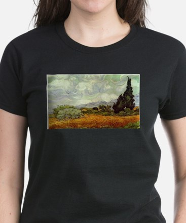 Vincent van Gogh's Wheat Field with Cypres T-Shirt