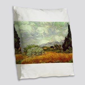 Vincent van Gogh's Wheat Field Burlap Throw Pillow