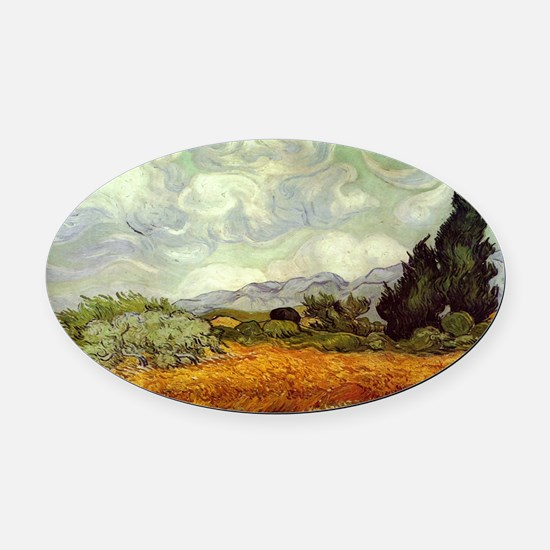 Vincent van Gogh's Wheat Field wit Oval Car Magnet