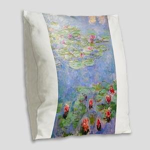 Claude Monet's Water Lilies Burlap Throw Pillow