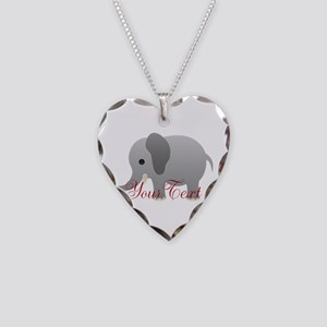 Elephant Personalize Necklace Heart Charm