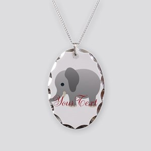 Elephant Personalize Necklace Oval Charm