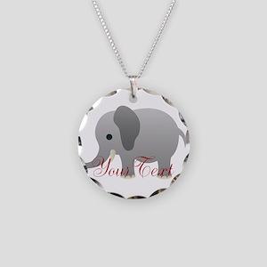 Elephant Personalize Necklace Circle Charm