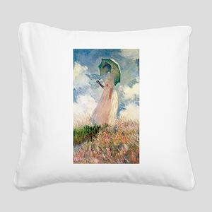 Claude Monet's Woman with a P Square Canvas Pillow
