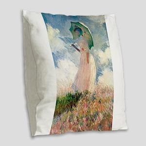 Claude Monet's Woman with a Pa Burlap Throw Pillow