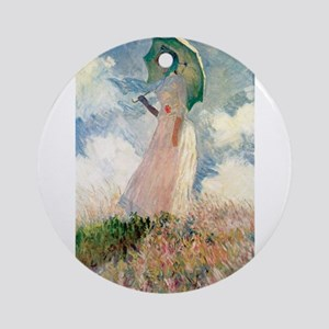 Claude Monet's Woman with a Parasol Round Ornament